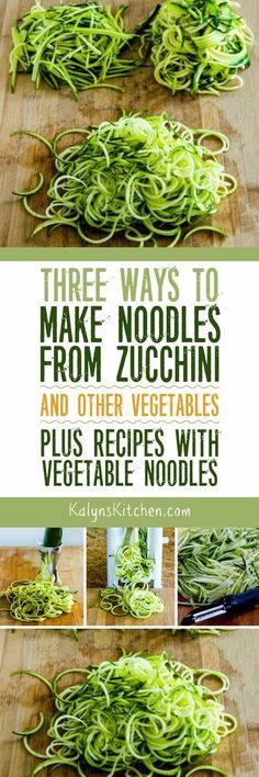 Vegetable noodles are a great way to satisfy that pasta craving with lower-carb options, and here are Three Ways to Make Noodles from Zucchini and Other Vegetables! The post also has links to all my favorite low-carb and gluten-free recipes with Zoodles and other Vegetable Noodles. [found on http://KalynsKitchen.com]