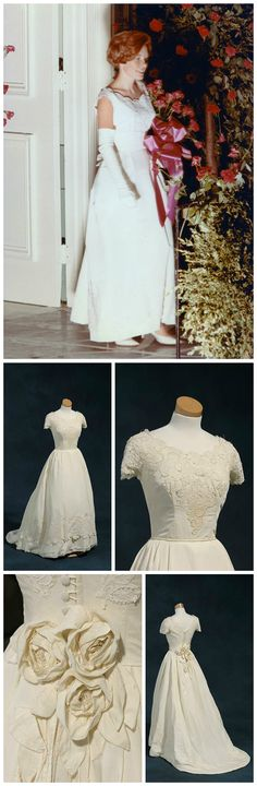 """Debutante dress, made by the Otey sisters of Raleigh, 1966. Sisters Susan and Mary """"Molly"""" Spicer of Goldsboro, NC, each wore this dress for their debuts and weddings. Debutante photograph shows Susan Collier Spicer at the Raleigh Debutante Ball in 1966. Photos courtesy of Mrs. Susan Spicer Ryan, via the online exhibit """"Made Especially for You"""" (madeespeciallyforyou.org)."""
