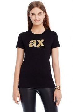 c9665234c3 Camiseta Armani Exchange Women s Refracted Logo Tee Black G5X353  Camiseta  Armani  Exchange