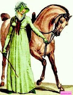 1806 Lady leading her horse. Green Nankin riding habit, green Faille hat with white taffeta decoration, green boots. Fashion Plate via Costume Parisienne. suzilove.com