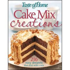 Cake Mix Creations Book: Save time, money, and your sanity with the 216 easy-to-make recipes that taste as good as baked goods made from scratch—just ask the folks who submitted the recipes and the home economists at Taste of Home magazine. Each recipe includes a full-color photo so your dessert selection will be easy-as-pie as you see just how impressive a no-fuss dessert can be.  http://www.calendars.com/Dessert/Cake-Mix-Creations-Book/prod201300023712/?categoryId=cat00122=cat00122