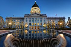 Utah State Capitol Sunset, Salt Lake City, Reflecting Pool, Lights, Utah Photography, Architecture, Home Wall Decor, Fine Art Photo Print by Ultimateplaces on Etsy