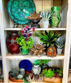 """Gorgeous """"Deck your shelves with color and succulence - Moroccan pottery + succulent love in this bright…"""""""