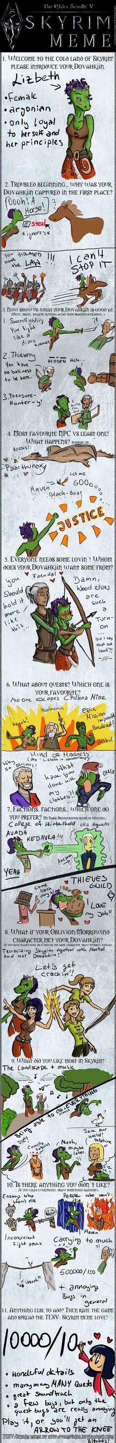 Skyrim Meme by Lizzie the Lizardborn by LizbethLizard on DeviantArt