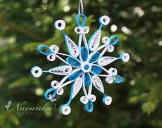 Paper Quilling Snowflake Ornament in White and Blue in a gift box, Paper Quilled Christmas Ornament, Handmade ornament