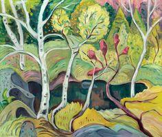 Birches and Pond (1945) - Ethel Seath