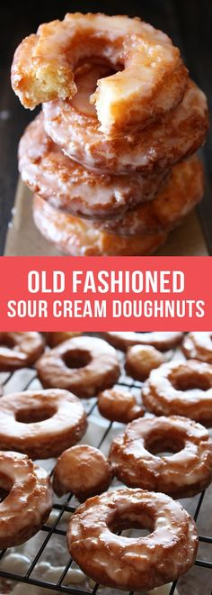 Old-Fashioned Sour Cream Doughnuts are coated in glaze and taste just like the cakey ones at your favorite bakery! #bake #bakingrecipes #doughnuts #donut #oldfashionedoughnuts #doughnutrecipe #howtomakedonuts