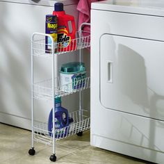 Bring stylish organization to your laundry room, mudroom, or walk-in closet with this essential steel storage cart, showcasing 3 tiers and castered feet.   ...