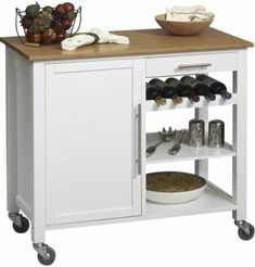 Linon 46411WHT-01-KD-U Bamboo Kitchen Island Cart with Wood Top, Graceful white finish, Eco-friendly bamboo and solid pine frame construction, Three shelves provide ample storage capacity, Top shelf slatted to hold up to 5 wine bottles, Door reveals open space perfect for waste basket / bulky item storage, Casters for easy mobility, UPC 753793461168 (46411WHT 01 KD U 46411WHT01KDU)