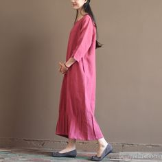 Pink New linen maxi dresses long sleeve spring caftan dressThis dress is made of cotton linen fabric, soft and breathy, suitable for summer, so loose dresses to make you comfortable all the time.Measurement: Size M length 118cm / 46.02