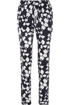 Benett orchid-printed silk tapered pants