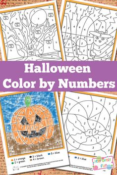 These cute Halloween free printables make fun kids crafts. Halloween Color by Numbers Worksheets are perfect Halloween a Halloween Class Party, Holidays Halloween, Halloween Themes, Spooky Halloween, Halloween Color By Number, Preschool Halloween Party, Halloween Worksheets, Halloween Crafts For Kindergarten, Halloween Printable