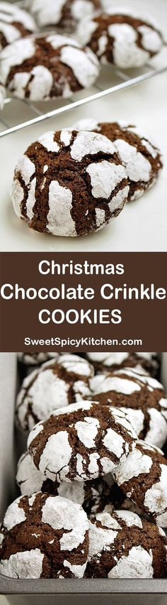 Chocolate Crinkle Cookies Christmas Chocolate Crinkle Cookies recipe, with a dash of fresh orange juice… days left till Christmas.Christmas Chocolate Crinkle Cookies recipe, with a dash of fresh orange juice… days left till Christmas. Brownie Desserts, Just Desserts, Delicious Desserts, Yummy Food, Holiday Cookies, Holiday Desserts, Holiday Recipes, Christmas Recipes, Holiday Ideas