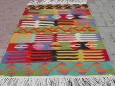"VINTAGE Turkish Kilim Rug Carpet, Handwoven Kilim Rug,Antique Kilim Rug,Decorative Kilim, Naturel Wool  30,7"" X 46"""