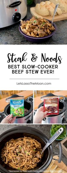 The flavorful Steak & Noodles recipe is a super easy weekday dinner recipe, but is also perfect for a family get together. This classic crock pot beef stew is transformed with a few unexpected ingredients (Hint: it is not what you expect). Served with frozen egg noodles, it is the perfect winter meal. Comfort in a bowl. *My family REALLY liked this one!