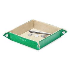 Aspinal of London Medium Tidy Tray In Grass Green Lizard  Cream Suede ($68) ❤ liked on Polyvore featuring home, home decor, small item storage, decor, frames & desk accessories, green, jewellery tray, aspinal of london, bone tray and key valet