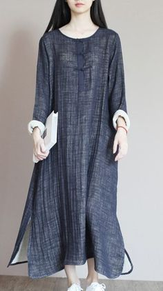 New wrinkled linen sundress. Navy top quality linen sundress plus size summer maxi dresses Hijab Fashion, Boho Fashion, Girl Fashion, Fashion Dresses, Womens Fashion, Fashion Ideas, Fashion Shoot, Fashion Design, Fashion Trends