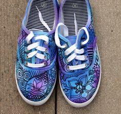 Zentangle sneakers, shoes, sneakers, zentangle art, original art, OOAK, custom…