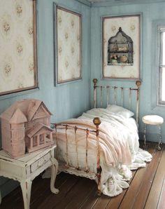 Pretty shabby chic miniature bedroom