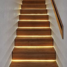 """LED lighting under stairs. A much more modern look than """"vent lights"""" in the walls. Staircase Wall Lighting, Outdoor Stair Lighting, Led Stair Lights, Outdoor Stairs, Stairs With Lights, Staircase Landing, Home Stairs Design, Interior Stairs, Stair Walls"""