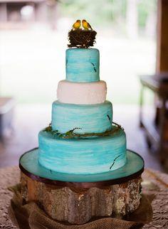 Unique aqua rustic wedding cake