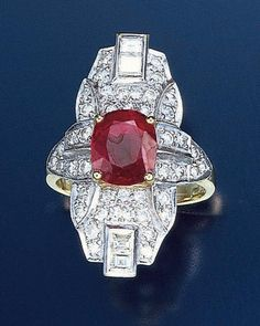 This is the magnificent ring that seduced Eddie LeVian into the family business. The superb 4 ½ carat blood red Burmese ruby dates back to the 1700s. It was made into the ring in 1922, the great cushion-cut stone mounted in white and yellow gold, surrounded by an Art Deco design of pavé diamonds, highlighted at each end with emerald-cut diamonds.