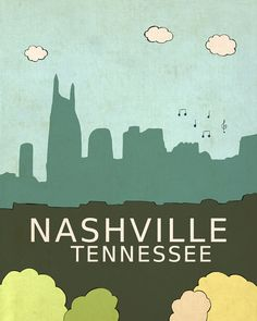 Nashville Tennessee // Trendy Modern Nursery Decor, City Skyline Poster, Typography Print, Giclee,  United States Travel Theme, Music