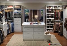 Tips in Creating Master Bedroom Closet with Multi-Function Design : Large Walking Closet Closet Design Ideas Furniture Glamorous Brown Walk In Closet Design Idea With Gray White Clothes White Boxes And Open Shelves With Shoes Awesome Walk In Walk In Closet Design, Bedroom Closet Design, Master Bedroom Closet, Wardrobe Design, Closet Designs, Bedroom Closets, Master Suite, Bedroom Wardrobe, Bedroom Designs