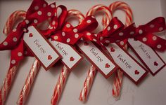 "candy cane favors..""thank you for making my party so SWEET. Love, Ava"""