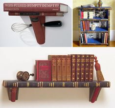 At This to That, there is a bit of role reversal going on – books become the shelves for more books, recycled, reused and recombined in clever and sometimes satirical ways to support collections of even more books (or something else entirely as shown in the strangely inverted set of wood blocks-on-books pictured above).