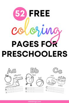 Download 52 FREE coloring pages for preschoolers! These alphabet coloring pages include letter tracing and words to help your child learn. Click here for easy to download files in English and Croatian! #coloringpages #coloringpagesforpreschoolers #coloringpagesfortoddlers #alphabetcoloringpages #teachkidsthealphabet #toddleractivities
