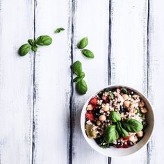 Happy sunny saturday  today's #healthy #lunch is #buckwheat #salad w/ #chickpeas #redpepper #redonion #olives #feta & #basil. #homemade by #4tastyseasons