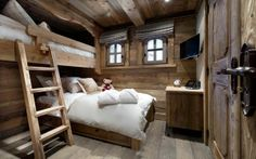 Chalet Interior with Warm Wood Decoration Ideas and Modern Home Appliances : Cozy Bedroom With White Pillows Facing Wooden Storage Under Tv Applied In The Chalet Interior Design Rustic Bedroom Design, Bedroom Decor, Bedroom Ideas, Wooden Bedroom, Cozy Bedroom, Rustic Design, Lodge Bedroom, Bedroom Suites, Rustic Bedrooms