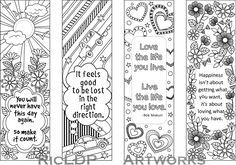Printable Colouring Bookmarks with Quotes, Coloring Bookmark Templates with Four…