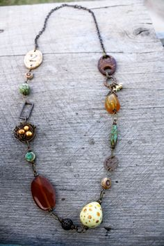 Boone Necklace Handmade Artisan Beads Birds by SweetSageJewelry, $58.00