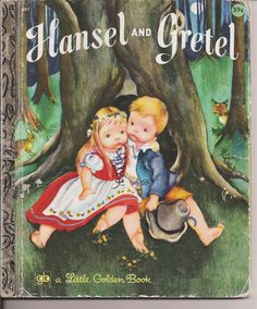 Vintage Little Golden Book Hansel and Gretel. My first books were little golden books.  It's all we could afford.  I loved them!!