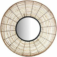 """Create an intriguing wall cluster in your foyer, living room, or dining room with this captivating design, showcasing beautiful craftsmanship and artful allure.   Product: Wall mirror   Construction Material: Mirrored glass and twine   Color: Beige   Dimensions: 30.75"""" Diameter"""