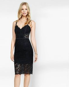 Travel on trend with a lingerie-inspired look. This sweetheart of a black lace sheath dress has structured piping that helps play up your curves. Cut-outs in the lining add peeps of skin at either side of the midriff and the knee. Lace Bustier, Lace Sheath Dress, Lace Dress Black, Express Dresses, Classy Dress, Dress Me Up, Nye Dress, Dress Ootd, Dress To Impress