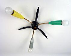Goldige 3 farbige Messing Sputnik Spinnen Lampe Spider Lamp Vintage 50er Jahre…