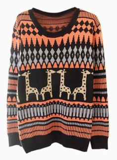 Navy & Coral Giraffe Print Knit Sweater