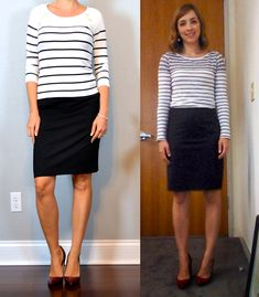 outfit post: striped top, black pencil skirt, burgundy shoes