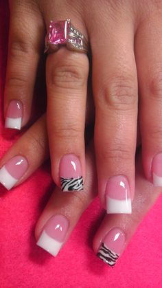 white nails - 101 Cute Pink and White Nails Designs Worth Stealing – Page 67 – Chic Cuties. Sexy Nails, Love Nails, How To Do Nails, Pretty Nails, French Nail Designs, White Nail Designs, Zebra Nail Designs, Zebra Nails, Pink Nails