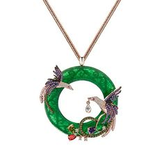 Daesar Gold Plated Necklace Womens Pendant CZ Necklace Green Phoenix Rose Gold Pendant Necklace for Women *** See this great product.