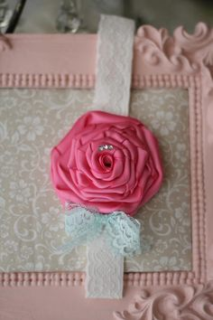 Shabby Bloom - Shabby Chic Pink Rosette with Rhinestones and a Chic Blue Lace Bow  $14.95