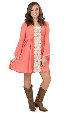Flying Tomato Women's Coral with Cream Lace Long Bell Sleeves Dress | Cavender's