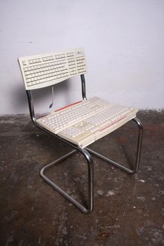 Keyboard chair in furniture electronics  with redesign Recycled keyboard Computer