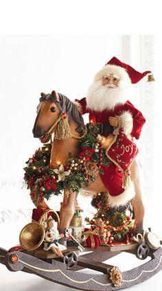 Karen Didion Originals Santa on Lighted Rocking Horse Woodland Christmas, Christmas Bows, Christmas Scenes, Father Christmas, Christmas Time, Vintage Christmas, Christmas Ornaments, Christmas Horses, Santa Decorations