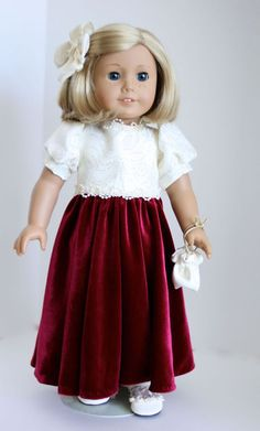 American Girl Doll: Lush Burgundy Gown by SewSpecialByBarb on Etsy
