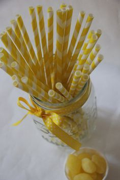 Lemon Yellow and White Striped Paper Straws  @shoplemondrops on Etsy