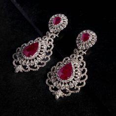 Pear shaped Ruby and Diamond earrings. Diamond Earrings Indian, Gold Jhumka Earrings, Diamond Earing, Diamond Jumkas, Diamond Studs, Ruby Jewelry, Pink Jewelry, Stylish Jewelry, Indian Jewelry